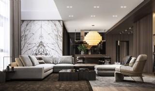 Lüks Modern Salon İç Dekorasyonu Koltuk Köşe Takımı Mobilya Tasarımı
