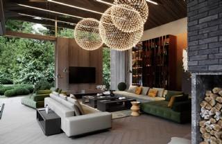 Lüks Salon Dekorasyonu Modern Lüks İç Mimarlık Özel Tasarım